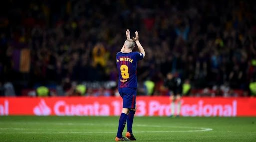 Iniesta acknowledging the crowd