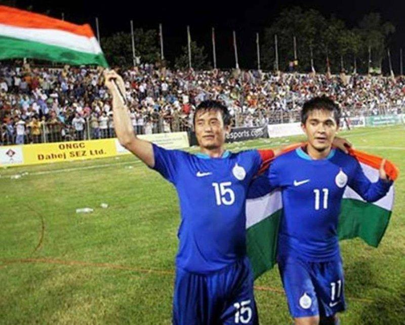 Bhaichung Bhutia and Sunil Chhetri AFC Challenge Cup 2008