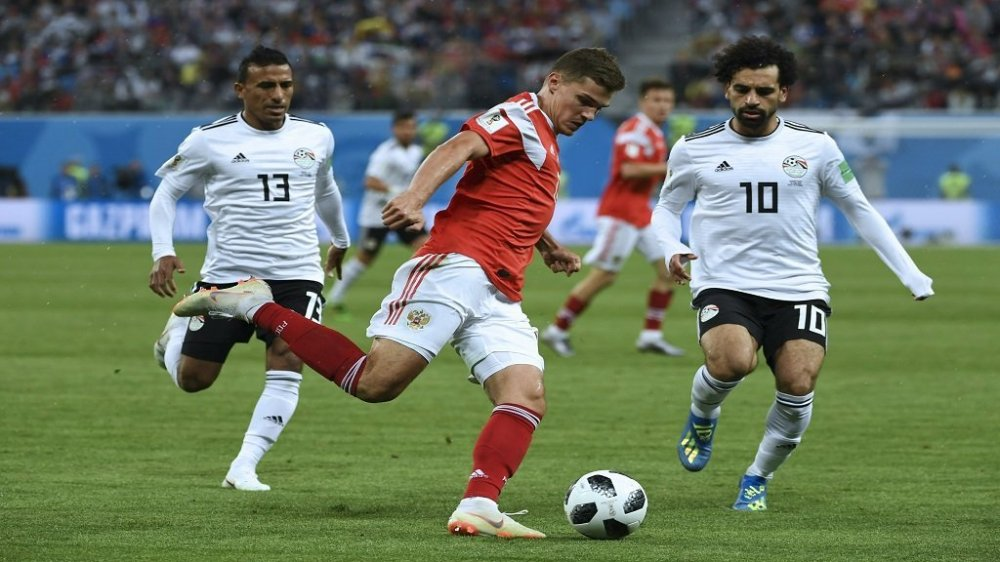 Egyptian players in action