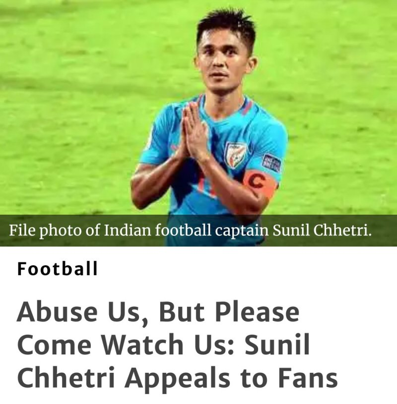 Sunil Chhetri plea to Indian Fans