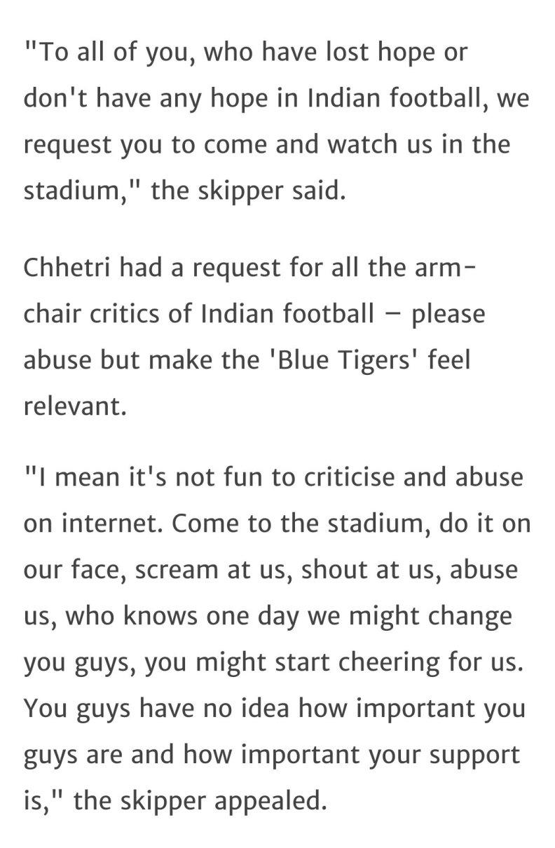 Sunil Chhetri appeal to Indian Fans
