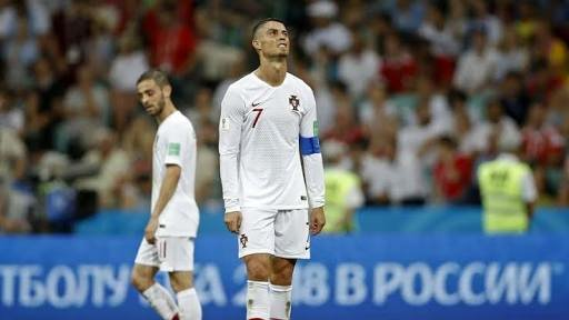 A dejected looking Cristiano Ronaldo