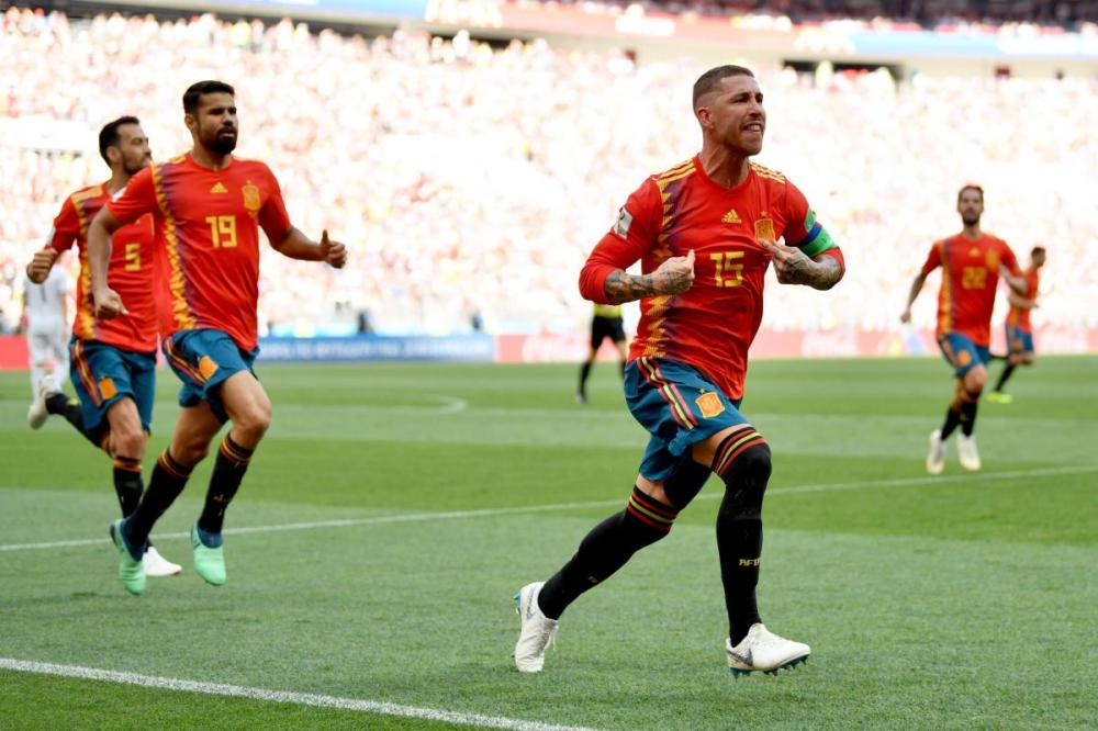Sergio Ramos celebrating Russian own goal against Spain in the round of 16 of world cup 2018